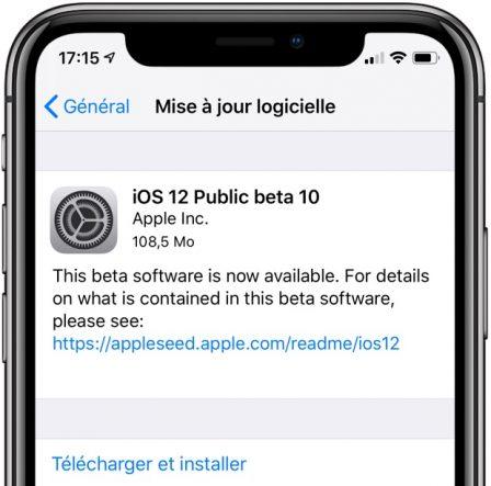 """Nouvelle Beta iOS 12: pour corriger le bug de pop-up """"nouvelle mise à jour disponible"""" 2"""