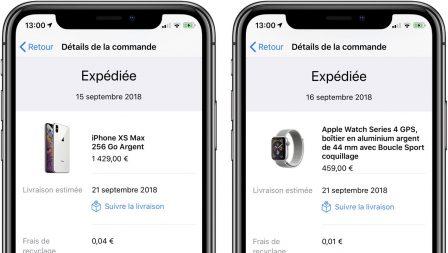 Commandes iPhone XS, XS Max et Apple Watch Séries 4 expédiées 2