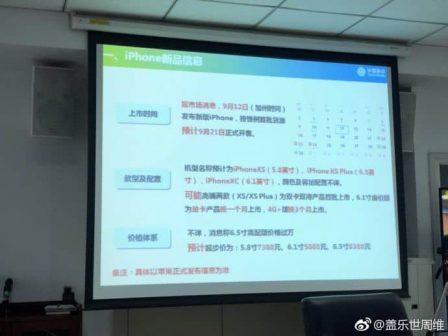 Vu en Chine: iPhone XS, XS Plus et iPhone XC retenus pour la gamme 2018, nouvelles indications de prix 2