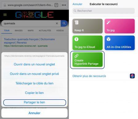 Ajouter un texte avec lien hypertexte dans Notes et Mail iOS: facile avec ce Raccourci iOS 3