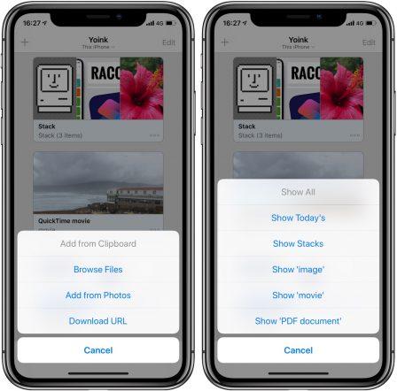 Yoink: une étagère virtuelle pour stocker et récupérer aisément ses fichiers sur iPhone et iPad 2