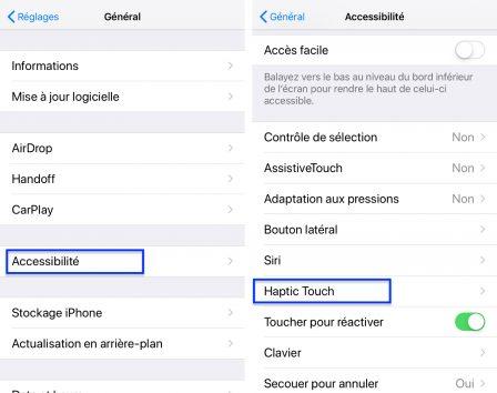 """Pratique iOS: comment régler la durée de l'appui «long» ou """"Haptic Touch"""" de l'iPhone XR  (MàJ iOS 12.1.1) 2"""