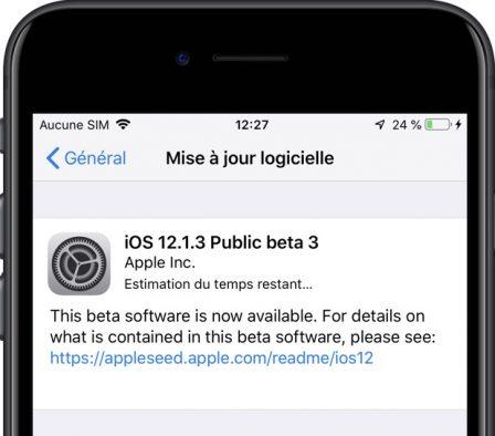 (MàJ) Apple propose iOS 12.1.3 beta 3 publique et watchOS 5.1.3 beta aux développeurs 3