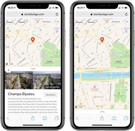 Passage aux cartes Apple pour DuckDuckGo, le moteur de recherche respecteux de la vie privée 2