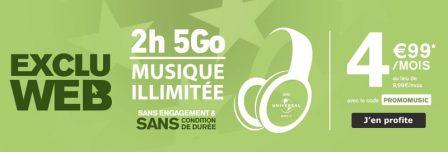 Nouvelle promo forfait: 4,99€ pour 5 Go, musique et 2h de communications chez La Poste Mobile 2