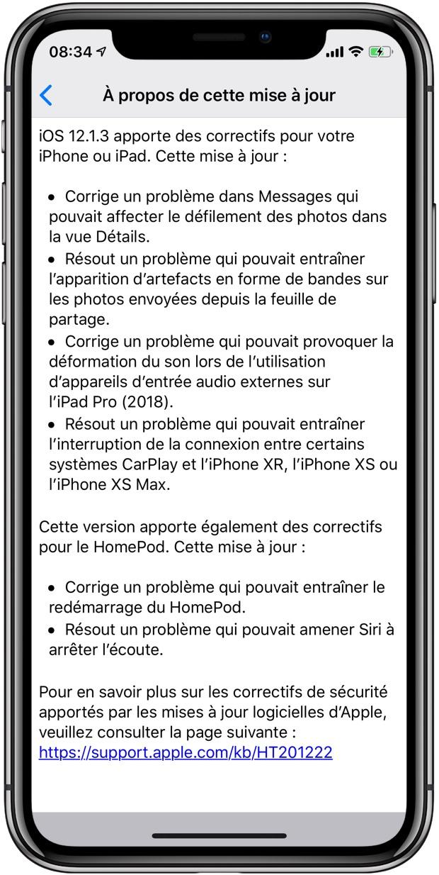 39df0b46d4 Cette nouvelle version d iOS est disponible en téléchargement en se rendant  dans l app Réglages