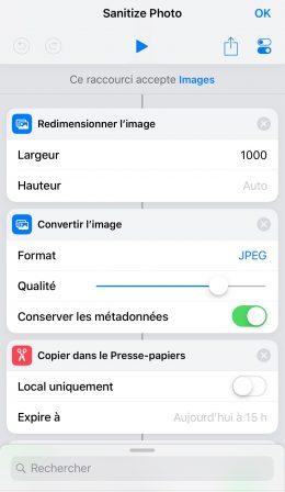Partagez une photo, mais pas sa géolocalisation, grâce à un raccourci iOS 3