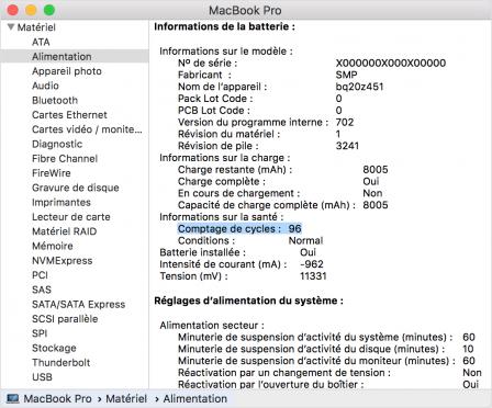 Comment connaitre l'état de la batterie d'un MacBook (nombre de cycles) 4