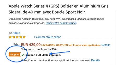 MàJ 15 fév. : Coupons de réduction chez Amazon, Apple Watch 3 et 4 moins chères (50€ sur Séries 4) et code promo iPad, iPhone XS à -90 euros 3