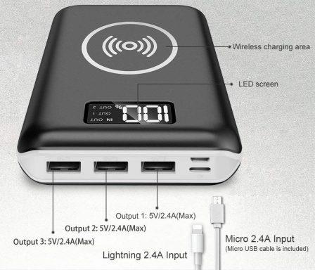Promo flash: batterie grande capacité (24 000 mAh), recharge induction Qi, entrée Lightning et indicateur numérique de charge 4