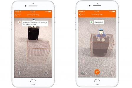 La Réalité Augmentée pour vérifier chez soi la taille du bagage à main, dispo dans l'app iPhone easyJet 2