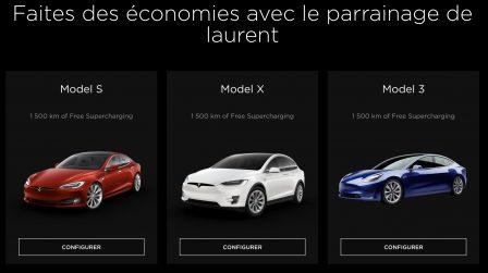 Code parrain achat Tesla avec supercharge