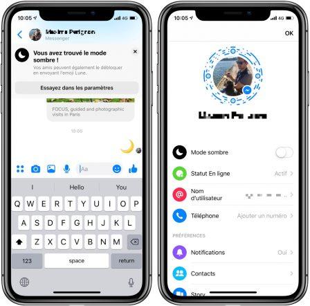 Voici comment activer le «mode sombre» sur Facebook Messenger iPhone 2