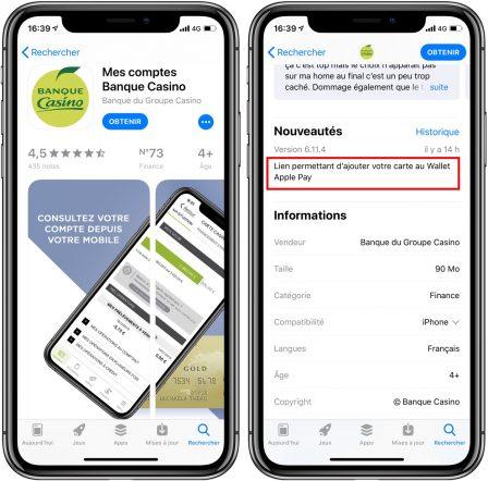 Apple Pay arrive dans l'appli Banque Casino 2