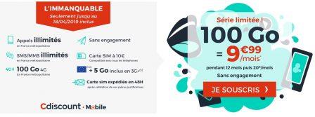 Promo forfait: illimité + 100 Go à moins de 10€/mois chez Cdiscount Mobile 2
