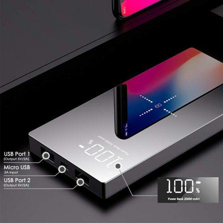 Promo flash: batterie 20 000 mAh élégante avec recharge Qi et indicateur de niveau de charge - coupez le fil! 4