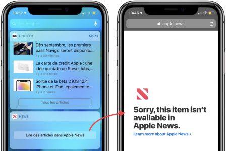 """MàJ - Le widget """"News"""" d'iOS victime d'une panne ... Il tente d'afficher """"Apple News"""" 4"""