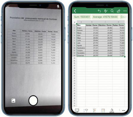 Microsoft ajoute l'import intelligent de tableaux chiffrés à l'aide d'une photo dans Excel iPhone et iPad 2