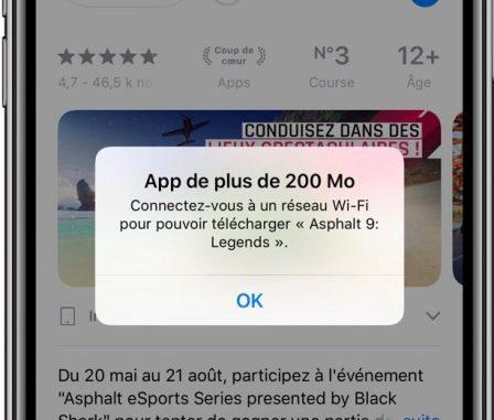 La limite de téléchargement d'applis iPhone en 4G passe à 200 Mo 2