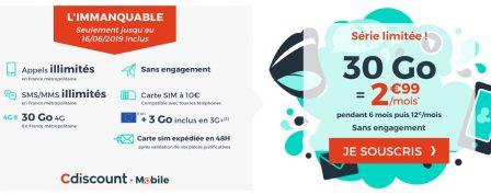 Promo forfait: illimité + 30 Go à 2,99€/mois chez Cdiscount Mobile 2