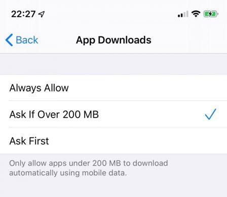 """iOS 13 devient """"no limit"""" sur les téléchargements d'applis en 4G 3"""