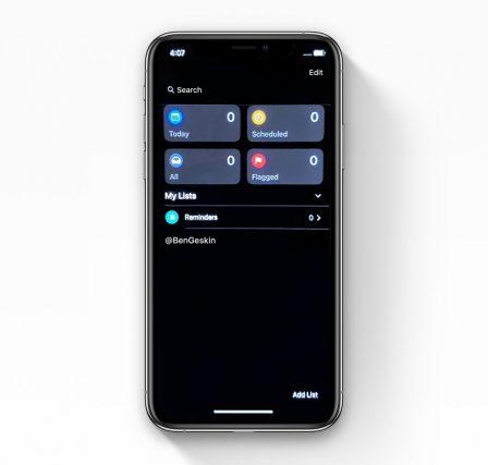 iOS 13: mode sombre et nouvelle appli Rappels en capture d'écran 2