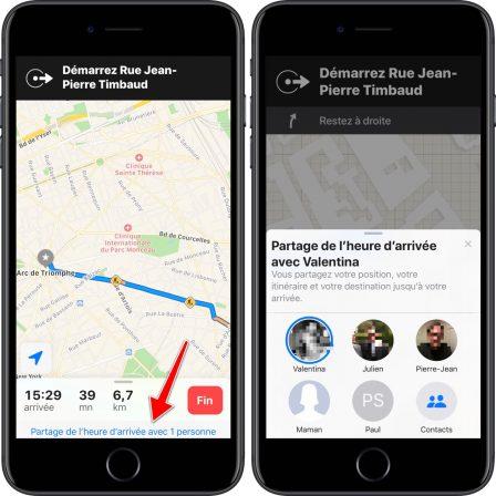 iOS 13: Plans peut partager le temps d'arrivée en temps réel avec un ami 2