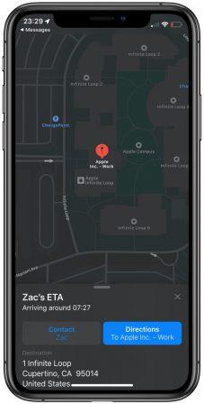 iOS 13: Plans peut partager le temps d'arrivée en temps réel avec un ami 3